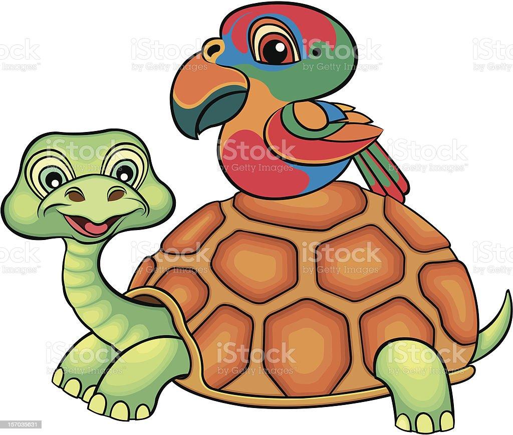 Turtles and parot vector art illustration