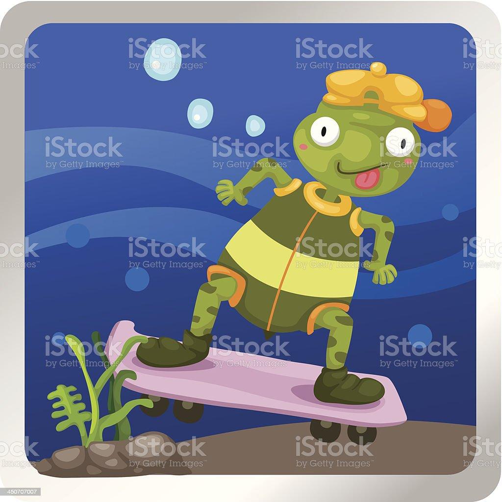 turtles play skateboarding underwater royalty-free stock vector art