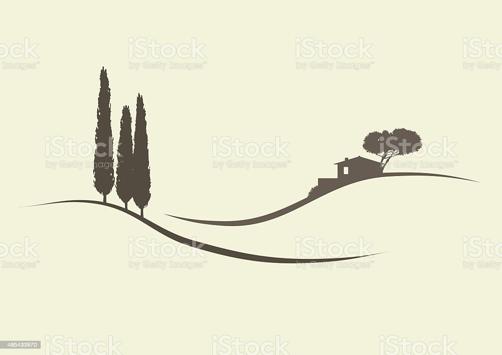 tuscanian landscape vector art illustration