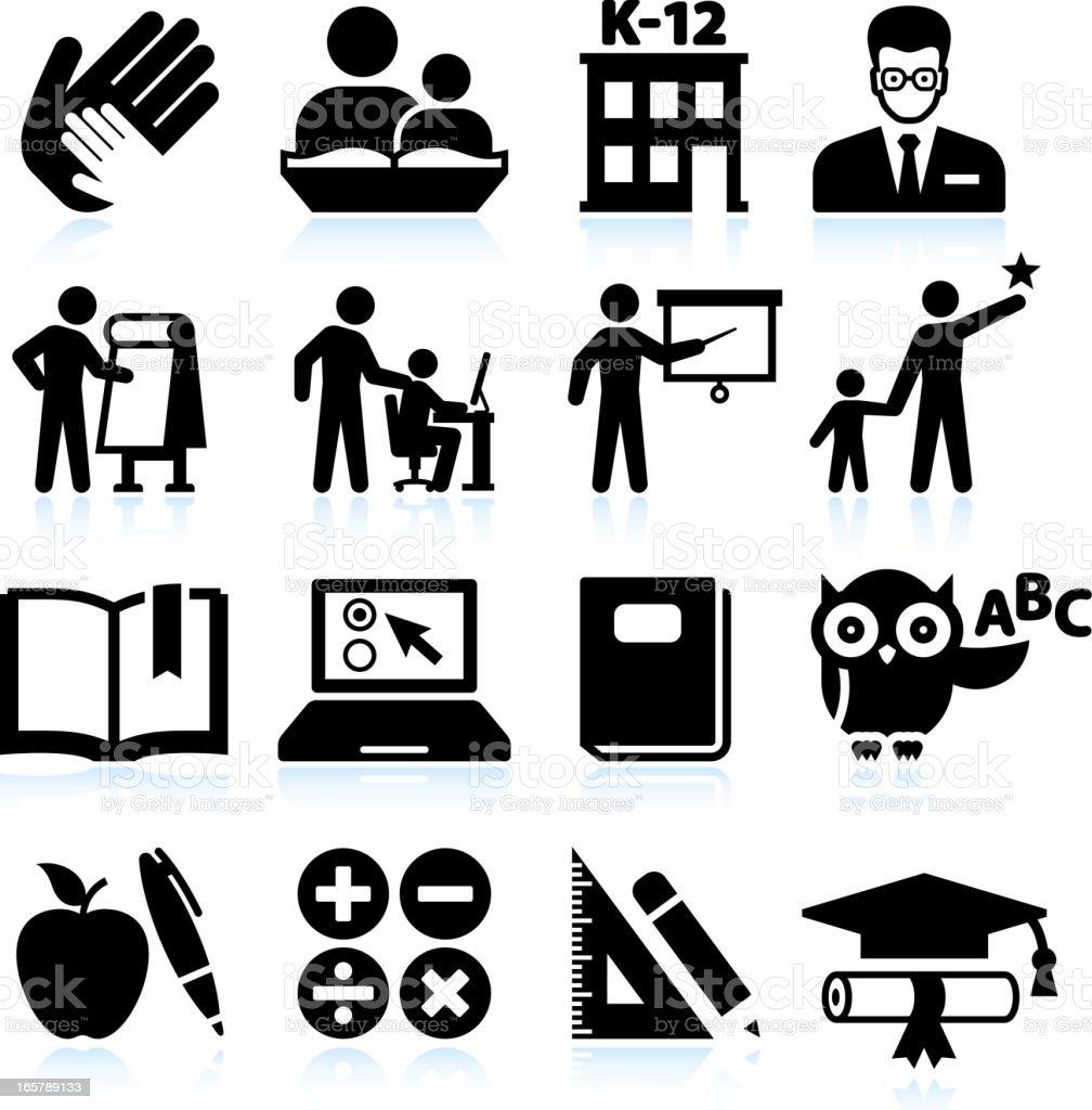 Tutoring and education black & white vector icon set vector art illustration