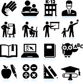 Tutoring and education black & white vector icon set