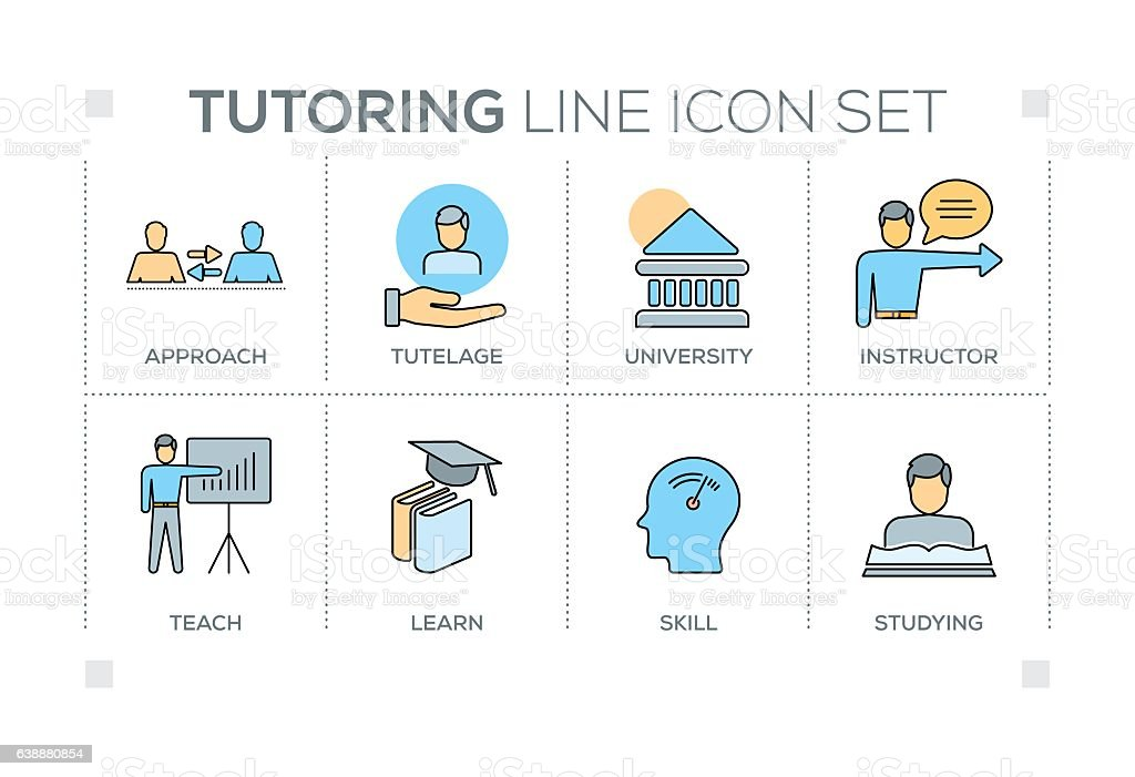 Tutoring keywords with line icons vector art illustration