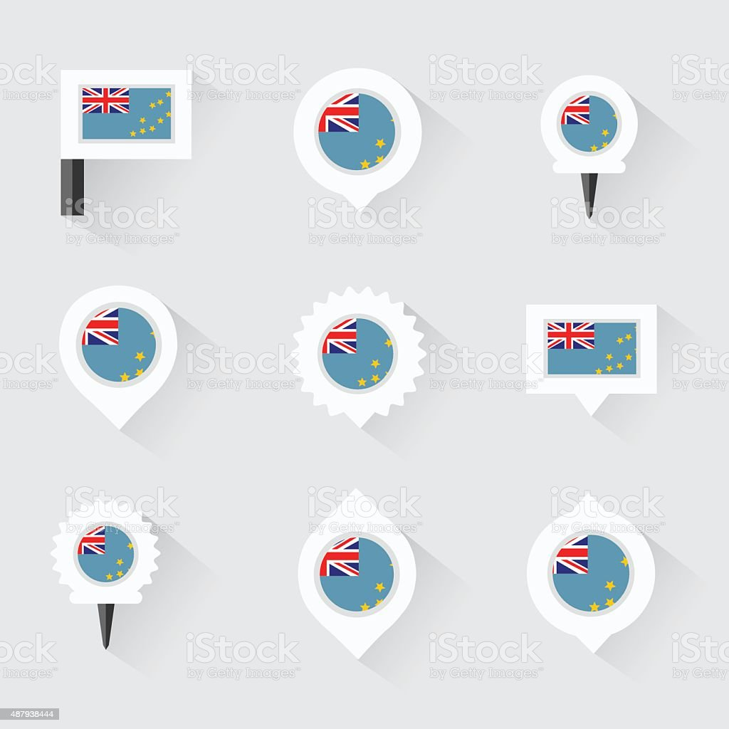 Tuvalu flag and pins for infographic, and map design vector art illustration