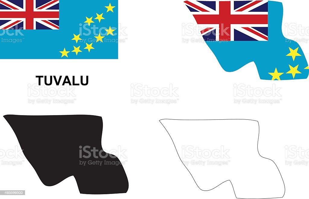 Tuvalu map vector, Tuvalu flag vector, isolated Tuvalu vector art illustration