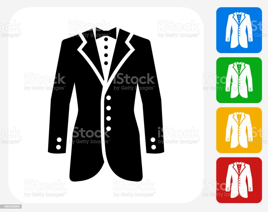 Tux Icon Flat Graphic Design vector art illustration