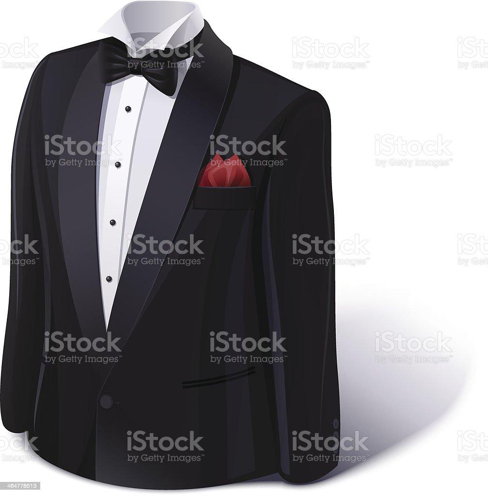 Tuxedo and bow. Stylish suit. vector art illustration
