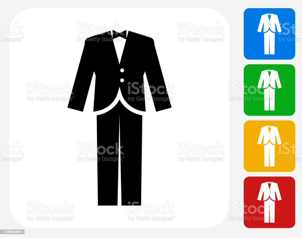 Tuxedo Icon Flat Graphic Design vector art illustration