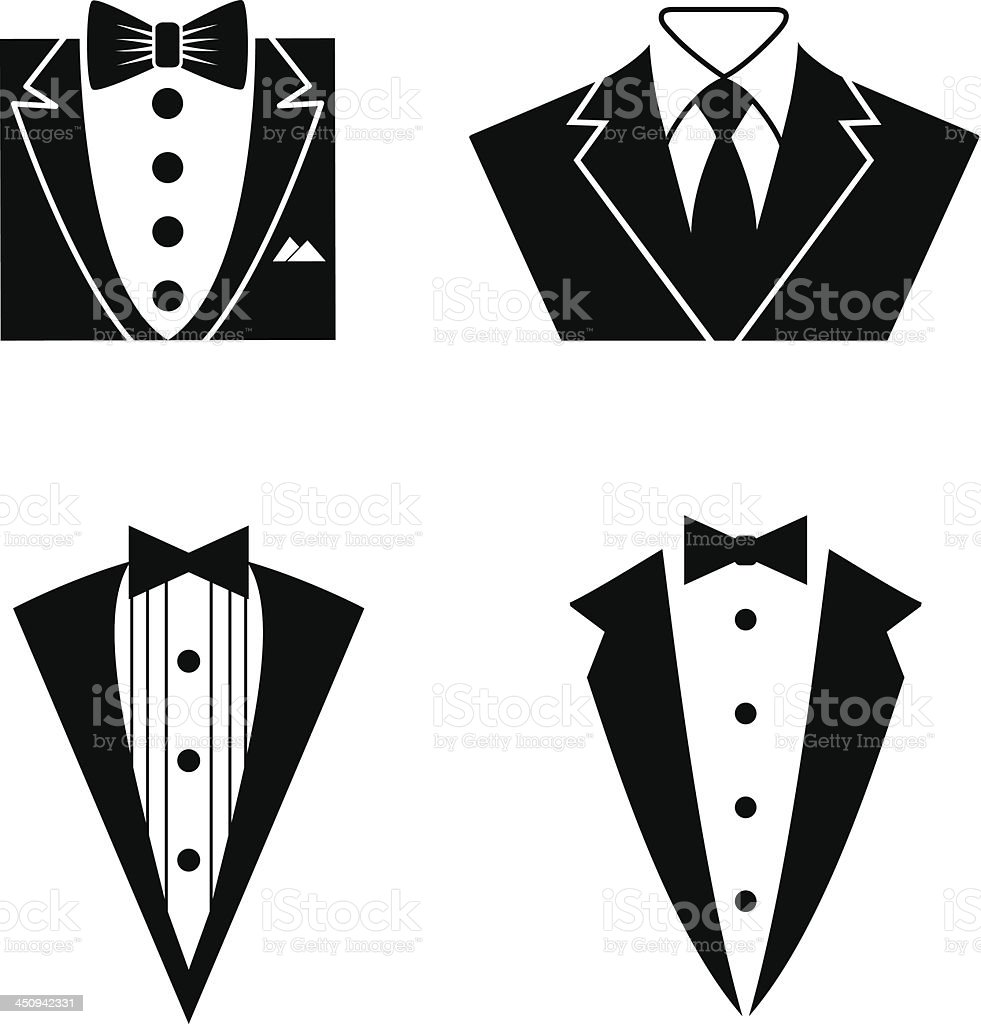 Tuxedo Icon Set vector art illustration