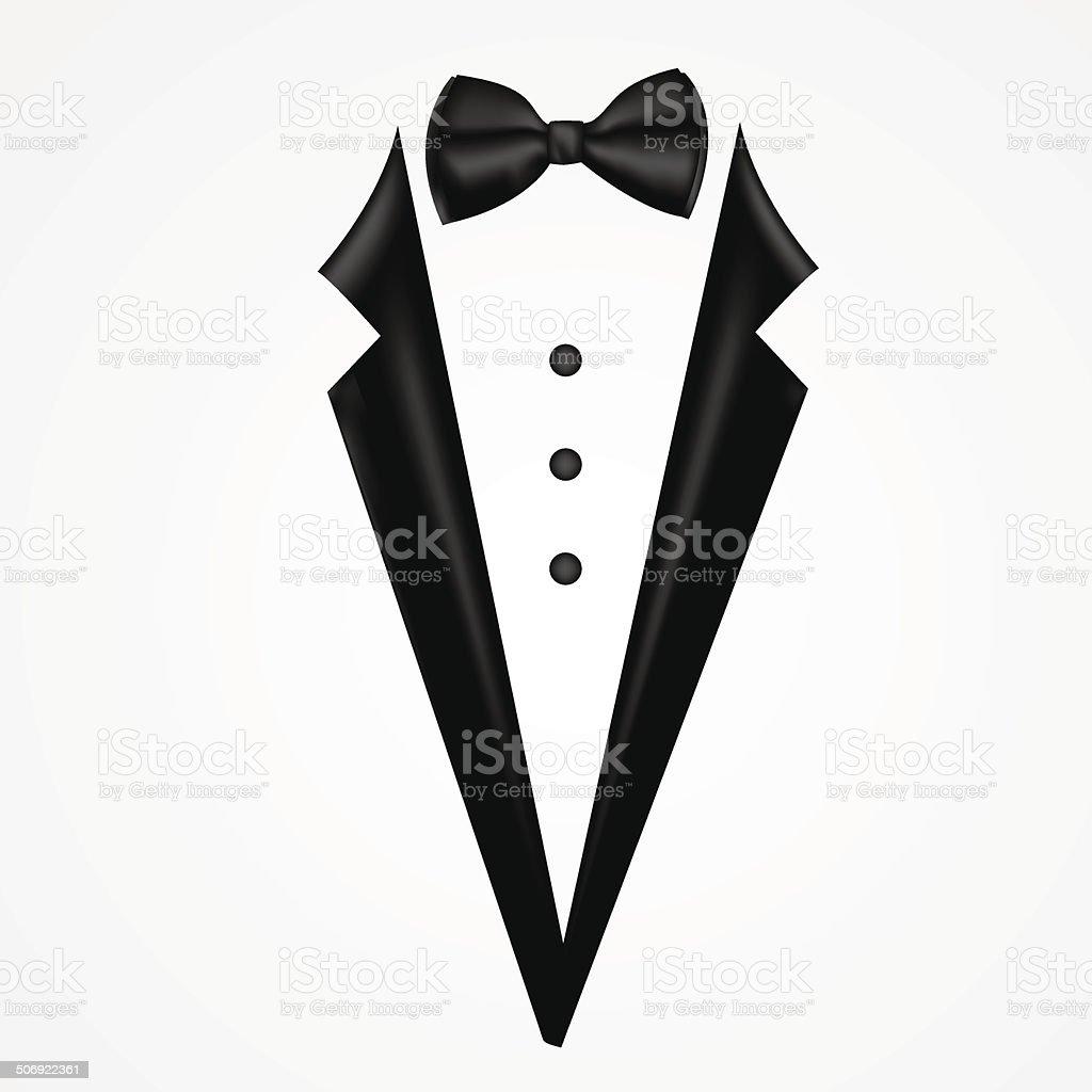Tuxedo vector with bow vector art illustration