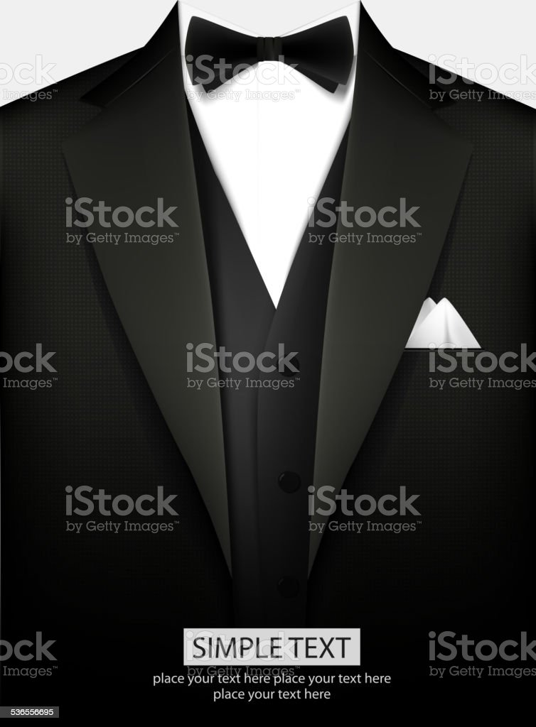 Tuxedo with bow vector art illustration