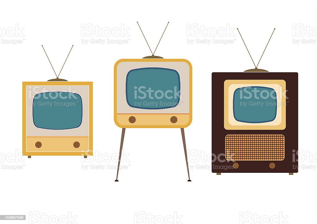 tv sets from the 1950s royalty-free stock vector art