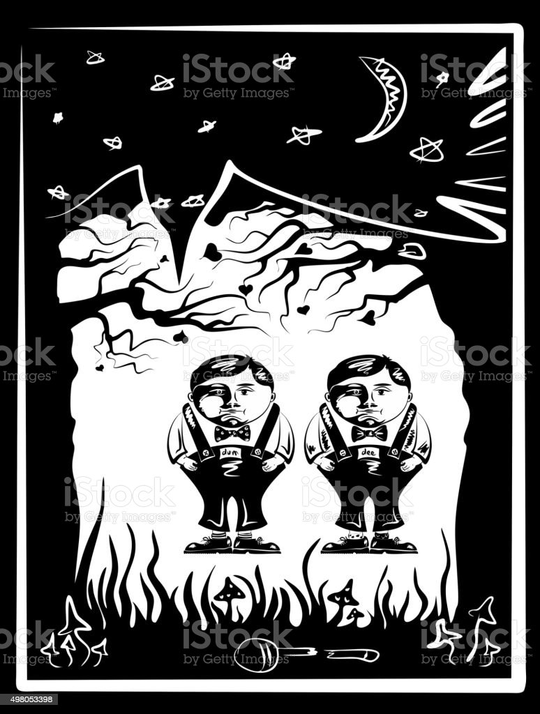 Tweedledum and Tweedledee vector art illustration