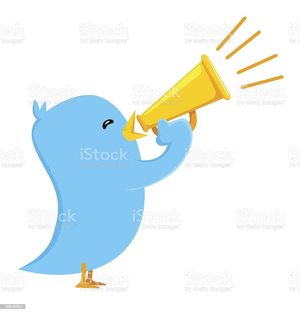 Tweeter Blue Bird Holding Speaker Shouting vector art illustration