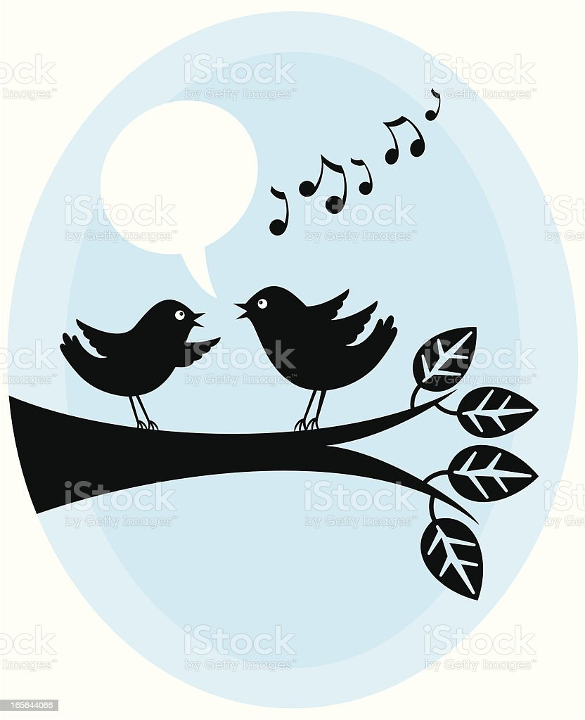Tweeting birds vector art illustration