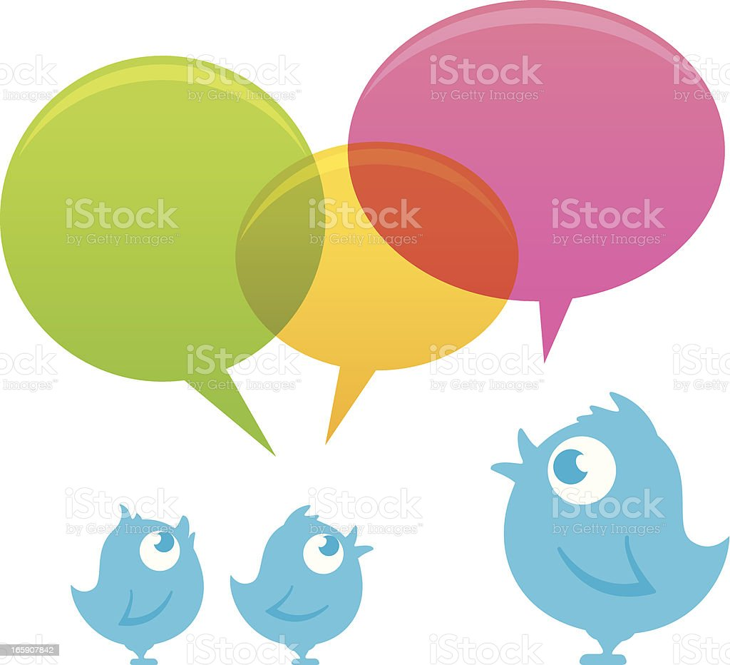 Tweeting bluebird family royalty-free stock vector art