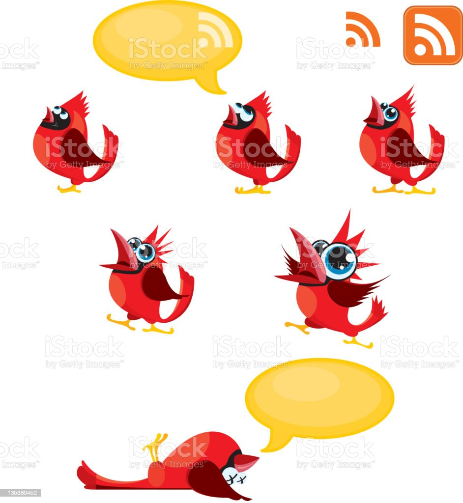 Tweeting, Talking Red birds or Cardinals and RSS symbol vector art illustration