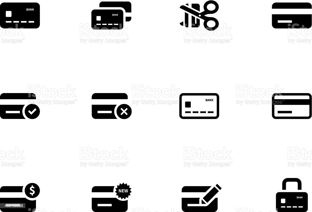 Twelve black and white cartoon graphics of credit card icons vector art illustration