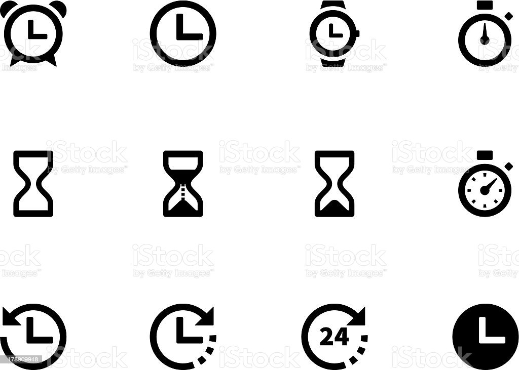 Twelve black and white time and clock icons royalty-free stock vector art