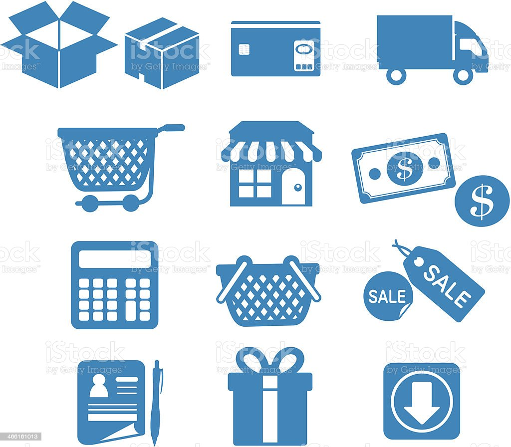 Twelve blue shopping-related icons vector art illustration