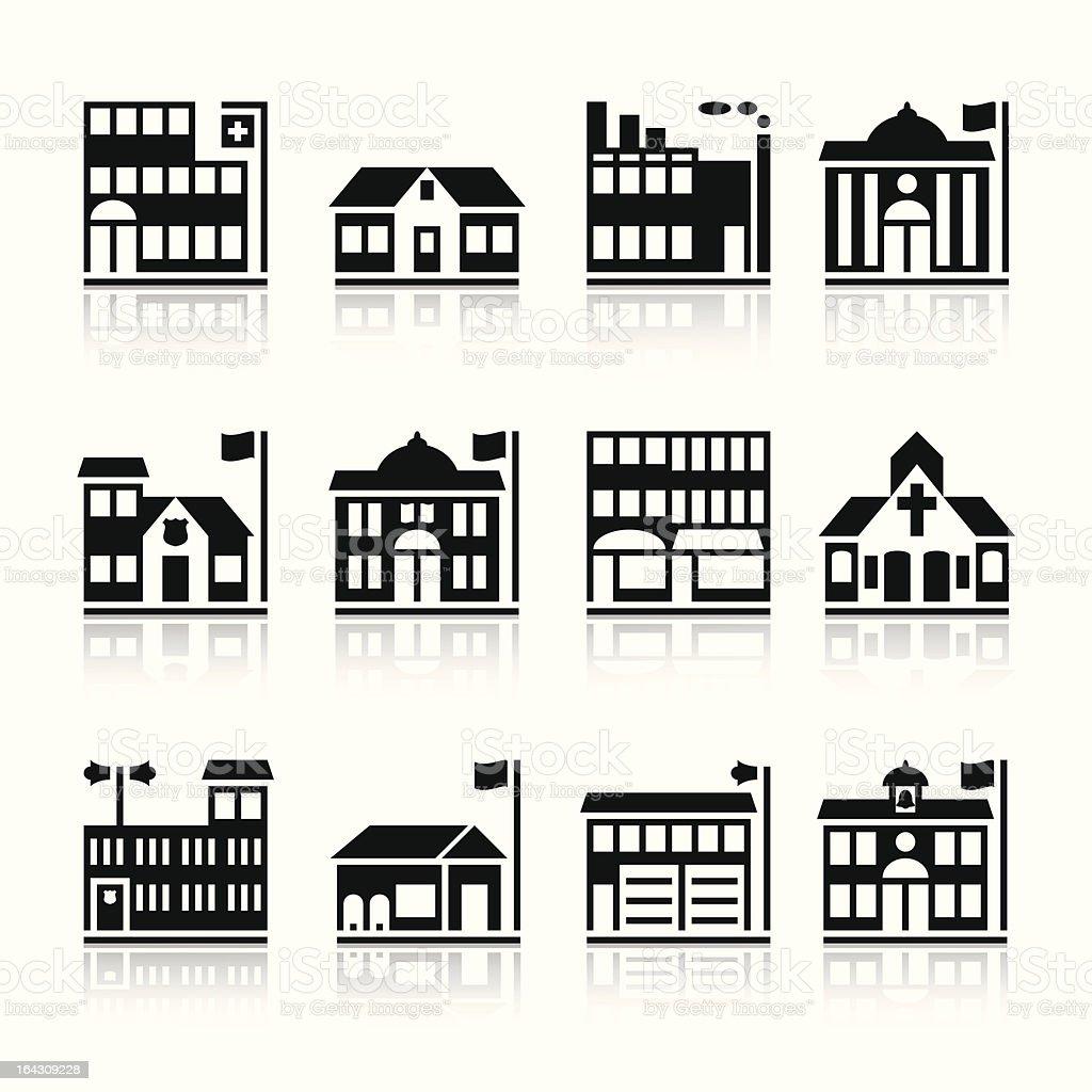 Twelve building silhouettes vector art illustration