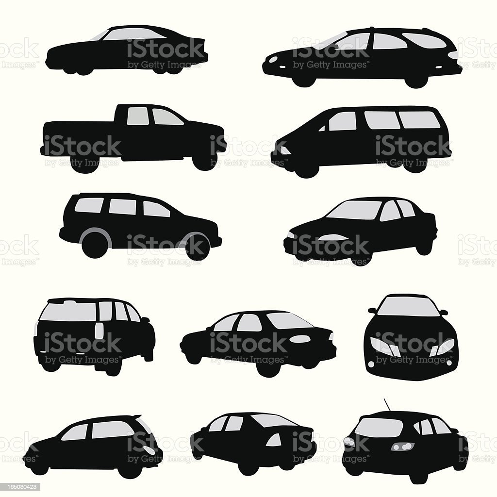 Twelve Car Collection Vector Silhouette vector art illustration