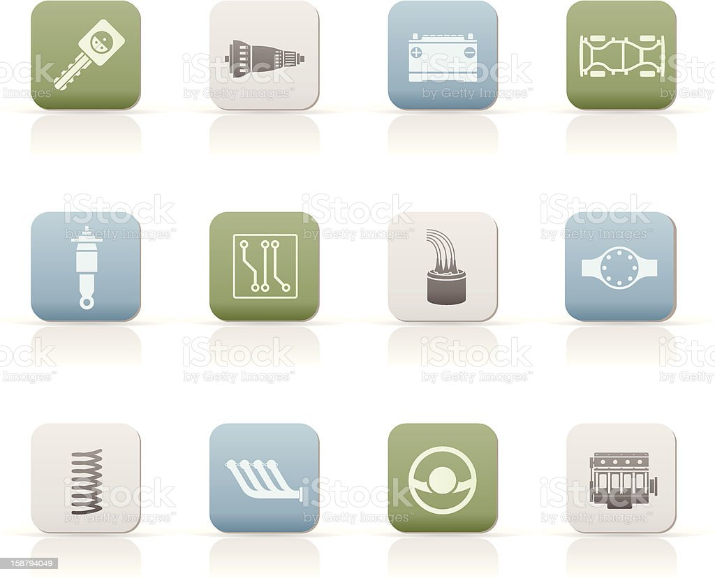 Twelve car parts and servicing icons royalty-free stock vector art