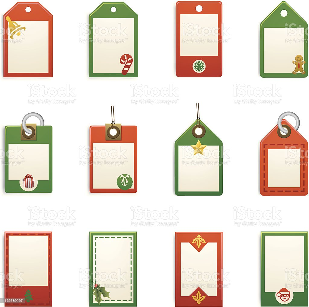 Twelve Christmas holiday tags in red and green vector art illustration