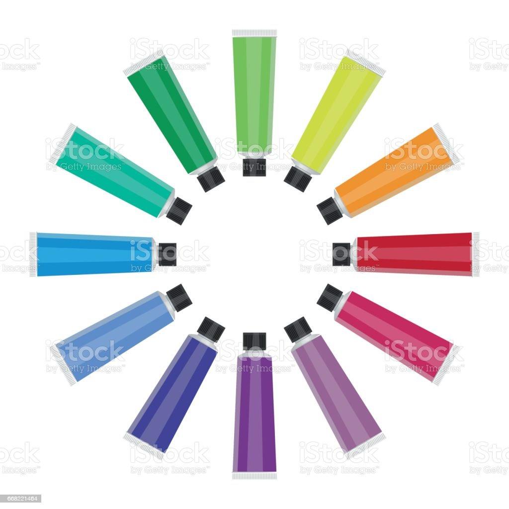 Twelve color tubes on white background - vector vector art illustration