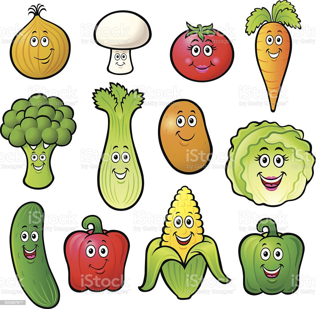 Twelve Cute Cartoon Vegetable Characters royalty-free stock vector art