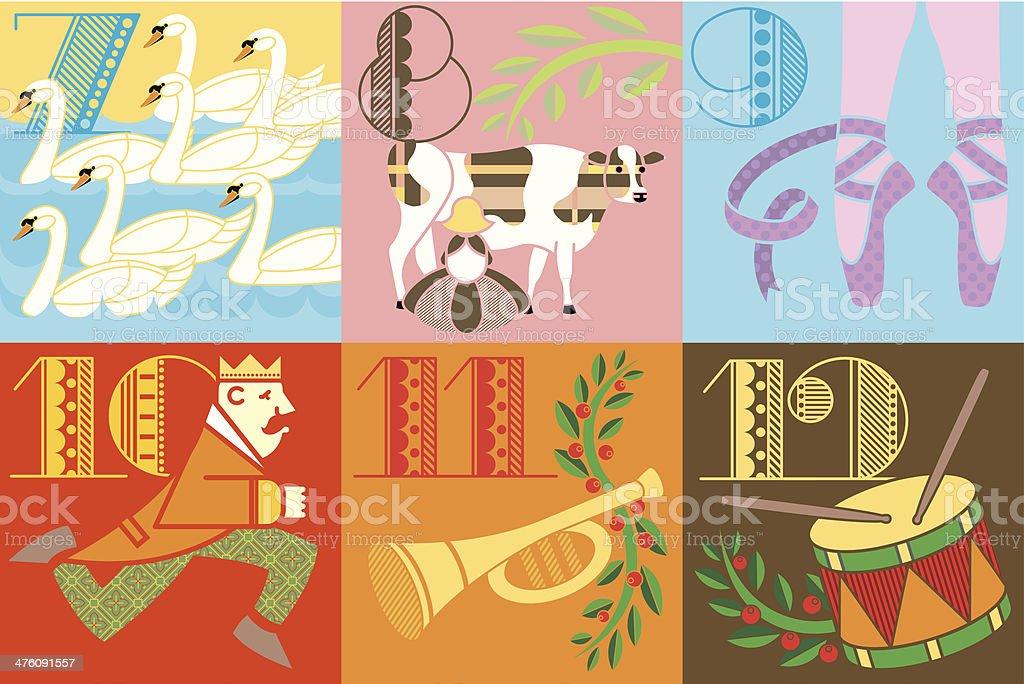 Twelve Days Christmas2 C royalty-free stock vector art