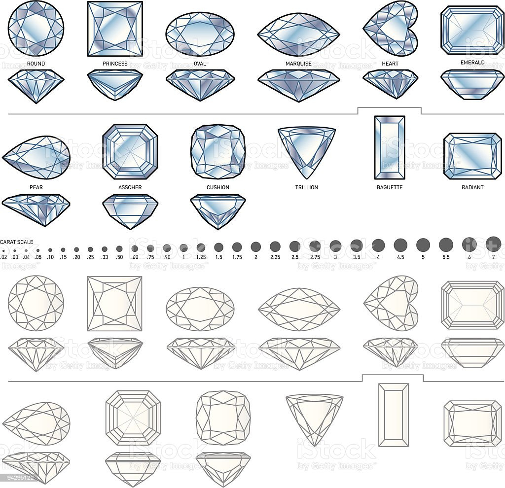 Twelve diamond shapes royalty-free stock vector art