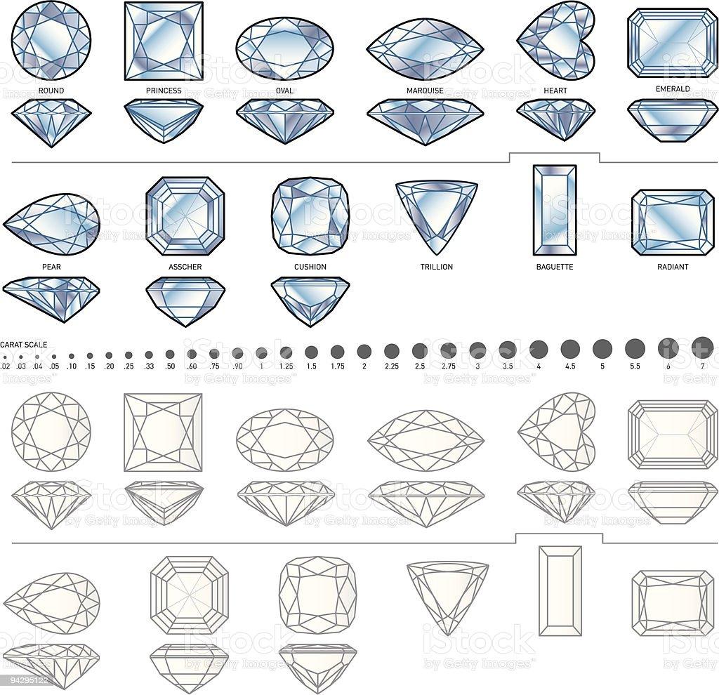 Twelve diamond shapes vector art illustration