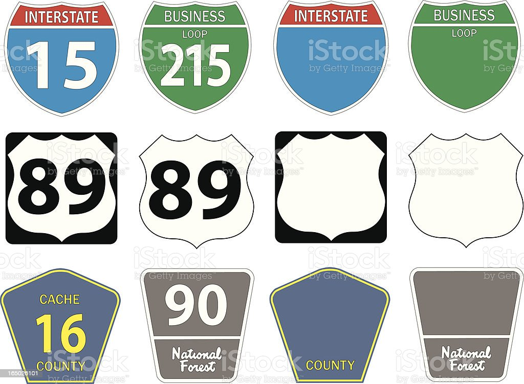 Twelve different highway signs vector art illustration