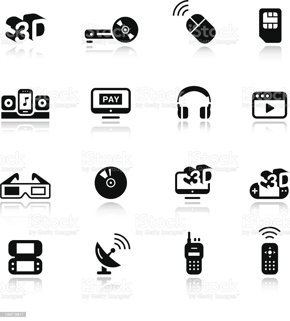 Twelve different icons depicting various media vector art illustration