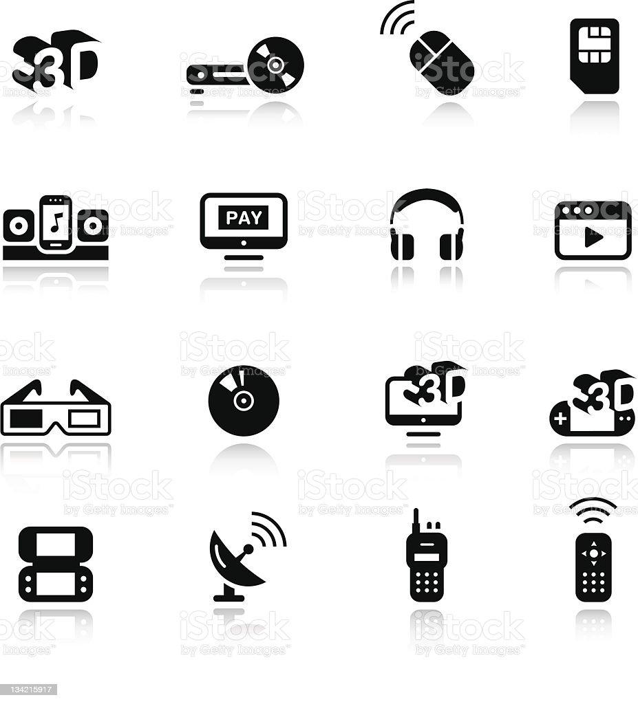 Twelve different icons depicting various media vector art illustration