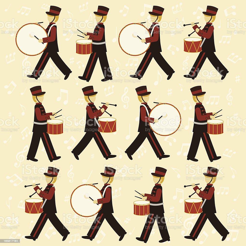 Twelve Drummers Drumming royalty-free stock vector art