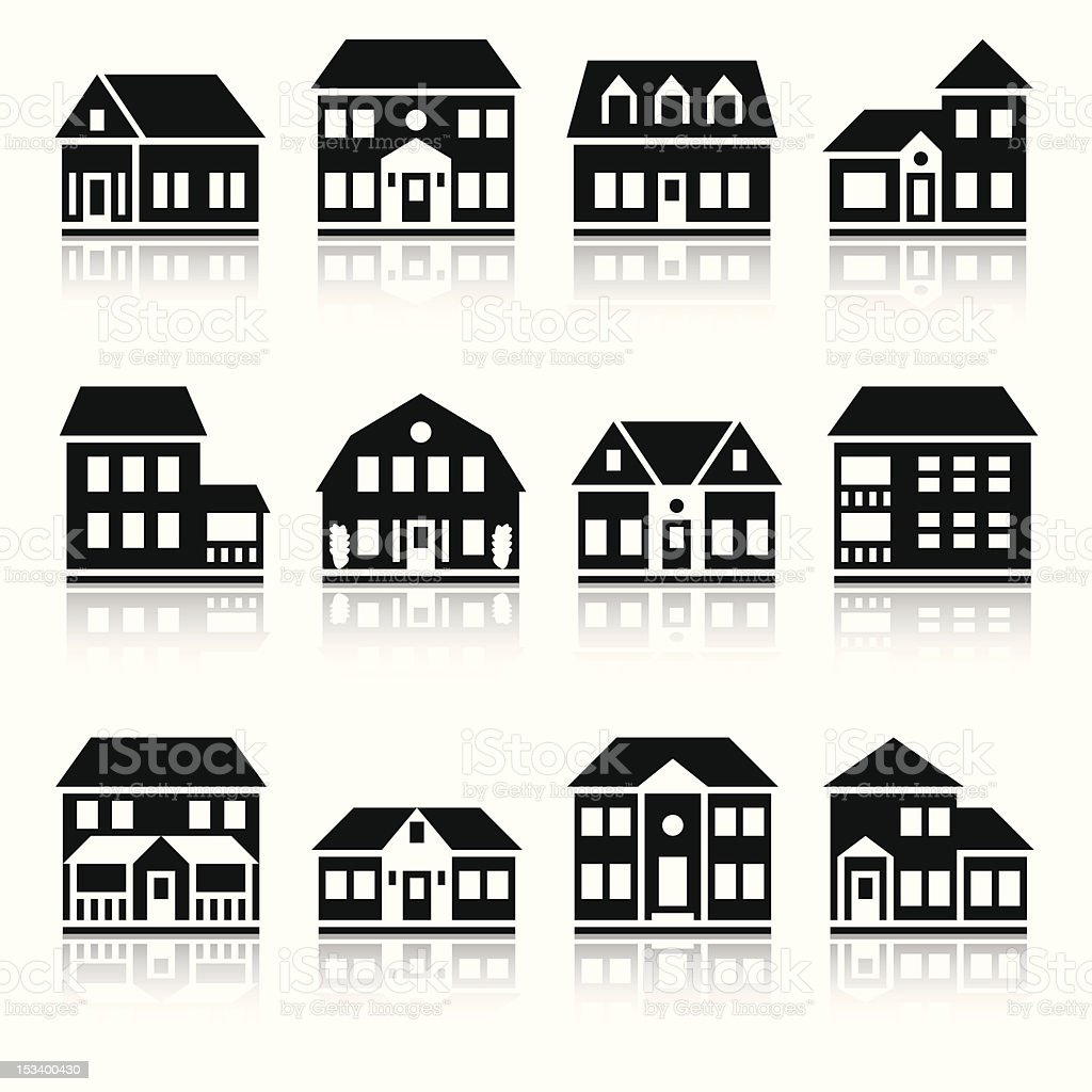 Twelve house silhouettes vector art illustration