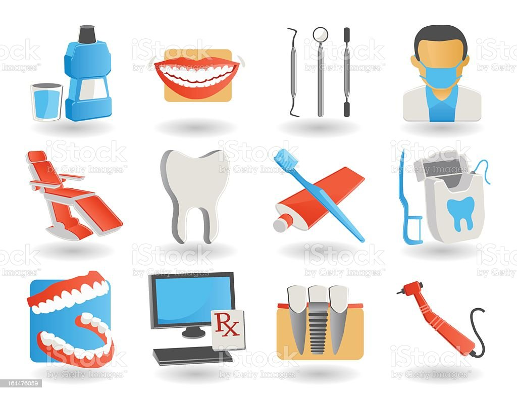 Twelve icons on the theme of dentistry and oral health royalty-free stock vector art