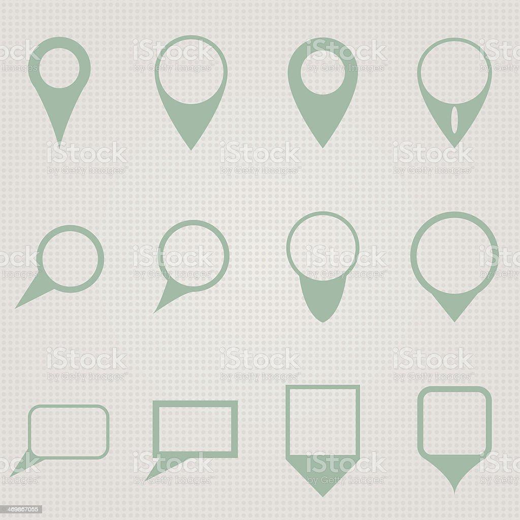 Twelve map pointers vector art illustration