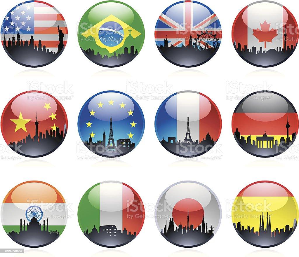 Twelve Marble City Flags royalty-free stock vector art
