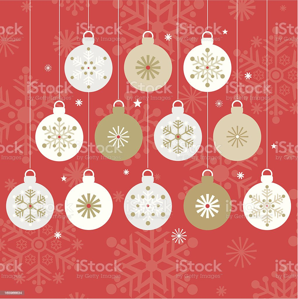 Twelve Modern Hanging Christmas Baubles. royalty-free stock vector art
