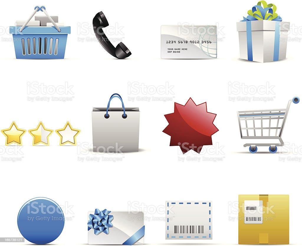 Twelve online shopping icons on a white background vector art illustration