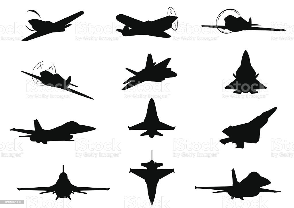 Twelve planes silhouettes vector art illustration