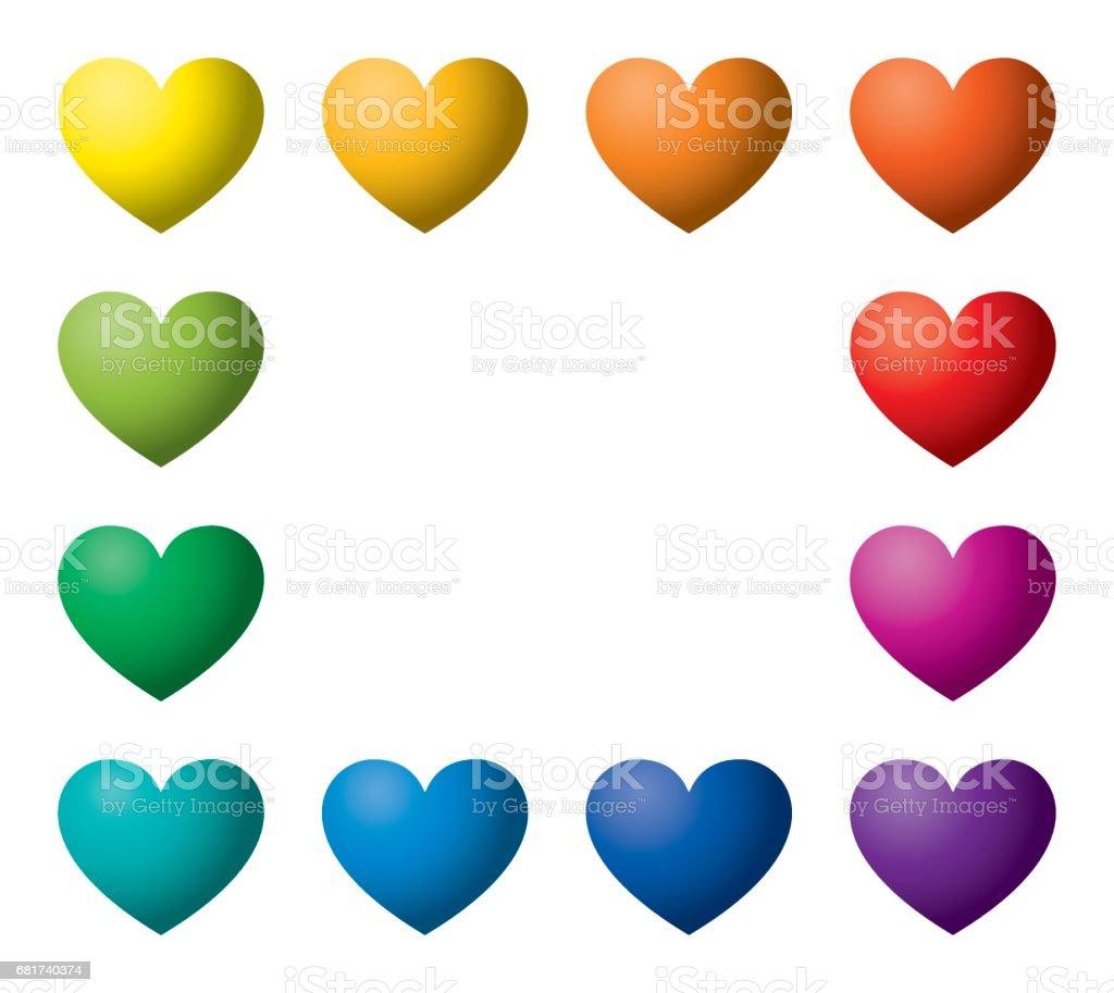 Twelve rainbow color hearts in rectangle shape vector art illustration