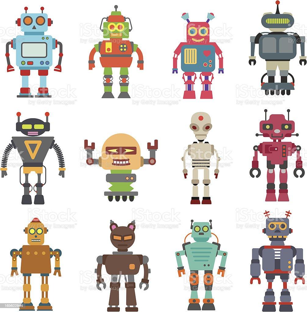 Twelve Robot Set royalty-free stock vector art