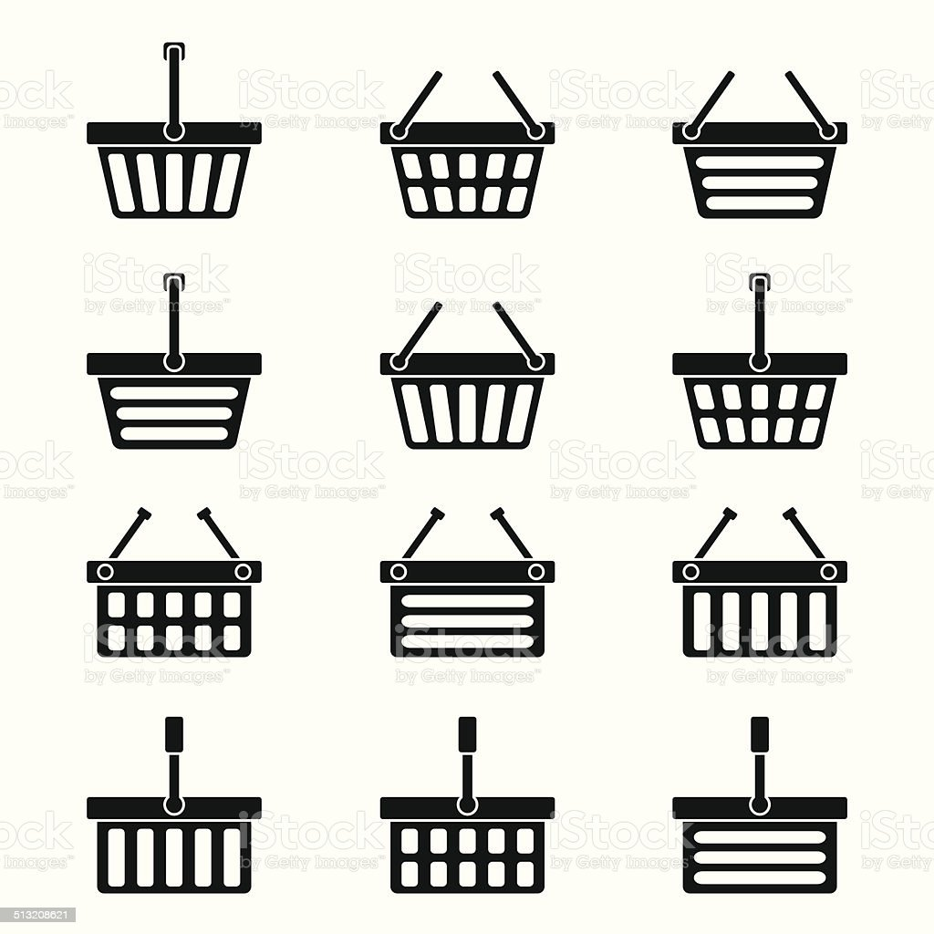 Twelve silhouettes of shopping baskets icons vector art illustration