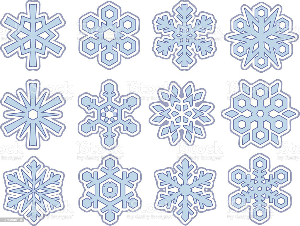 Twelve Simple Snowflakes (Vector) royalty-free stock vector art