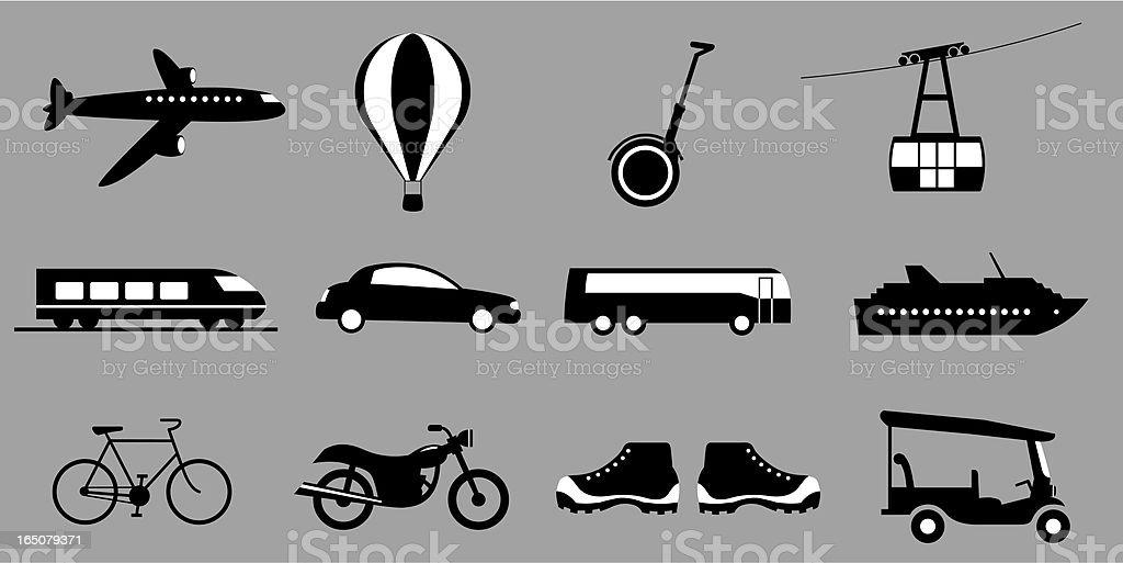 Twelve travel icons including bus boat and bike vector art illustration