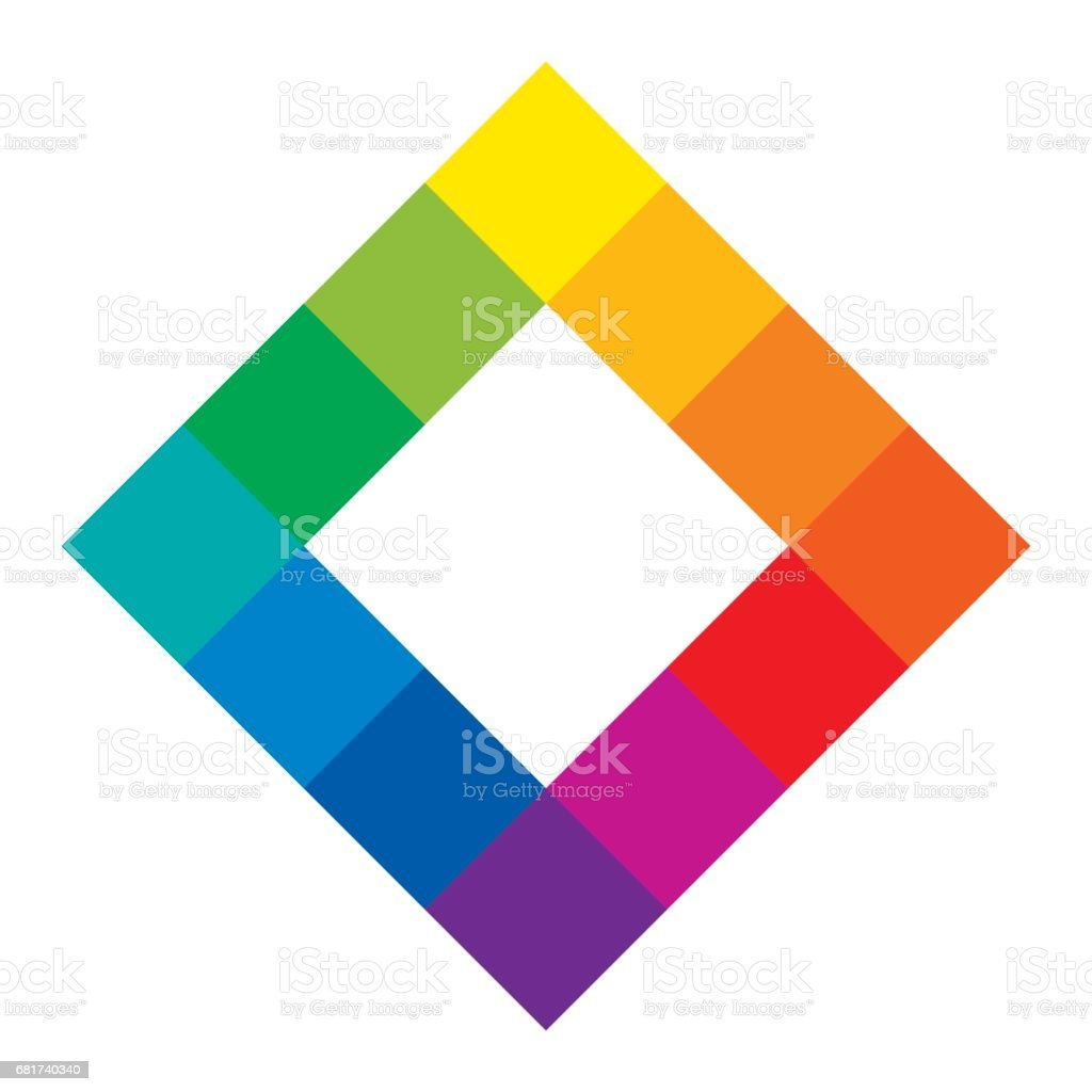 Twelve unique color hues of color wheel, square shape vector art illustration
