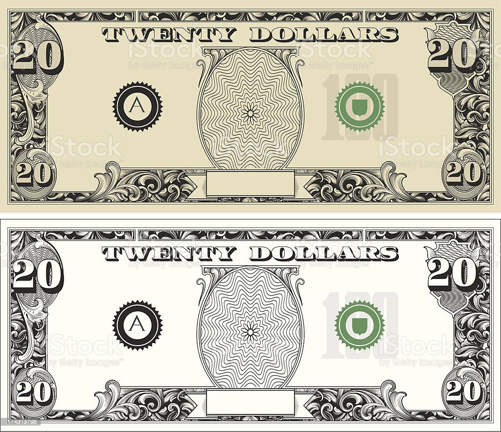 twenty 20 Dollar Bill with text royalty-free stock vector art